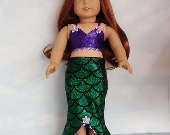 18 inch doll clothes - MERMAID Outfit handmade to fit the American girl doll - FREE SHIPPING