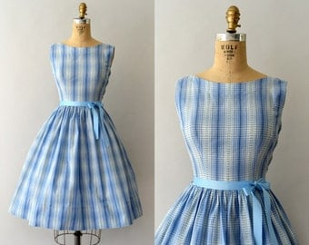 1950s Vintage Dress - 50s Blue Plaid Sundress