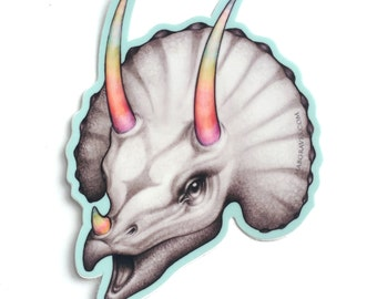 Rainbow Triceratops - vinyl silkscreen sticker - by Mab Graves -