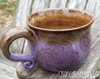 MADE TO ORDER Handmade Ceramic PotBelly shaped Coffee Mug Tea cup wheel thrown pottery Reiki energy Purple Pink Brown Blue Green Rustic