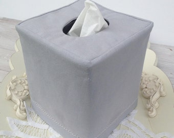 Hemstitch Gray Linen reversible tissue box cover