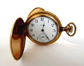 Antique 14K Goldfilled Lady  Elgin Pocket Watch Hunter Case, Sev'd &  Run
