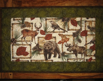 Bear Bird Deer Moose Quilted Table Topper, Cabin Rustic Mountain Table Decor, Pine cones and Leaves, Man Cave Decor, Gift for Men