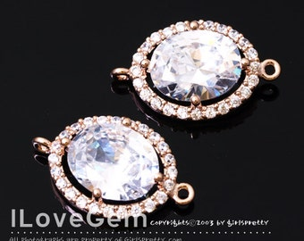 WSALE / 10 pcs / NP-1712 Rose Gold Plated, Cubic zirconia, Oval Connector, 11X18.5mm / Cubic Connector, Cubic Pendant, Wedding jewelry