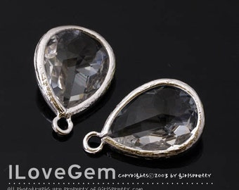 SALE/ 10pcs / P2760 Rhodium plated, Clear, Framed Glass drop, Framed faceted glass stone, Glass pendant, 12X17mm
