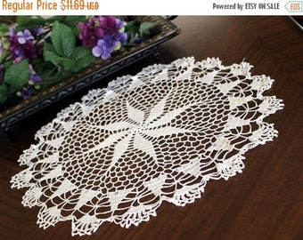 Crochet Doily in White, Hand Crocheted, Large Lacy Crocheted Doilies, Vintage Table Linens 13376