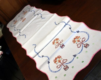 Linen Runner - Embroidered Table Scarf with Blanket Stitch Edging 12059