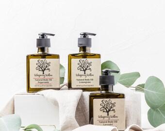 Body Oil, Natural Body Oil - Lavender, Lemongrass or Peppermint
