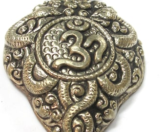 OOAK - Large Tibetan Silver coiled snake Om carving repousse pendant with turquoise inlay  - PM498G
