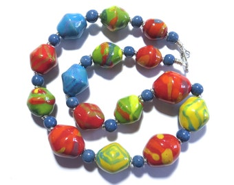 Beaded Necklace, Kazuri Beads,  Fair Trade, Ceramic Jewellery, Colourful Necklace