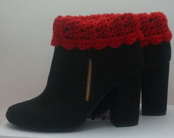 Gift Under  20 dollars Red Crocheted Boot Cuffs Boot Socks