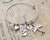 Airplane Bangle , Initial Bangle Bracelet, Journey Bangle, Friendship Bangle, Gift Ideas, Bridesmaid Gift, Heart Cham, Charm Bracelet
