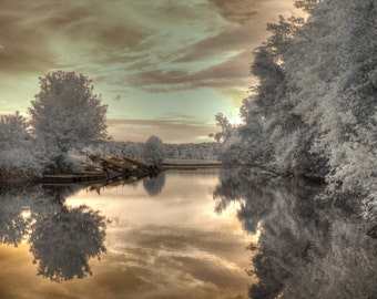 The Boathouse Creve Couer lake infrared photography home decor