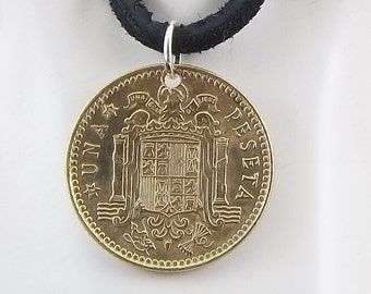 Spanish Coin Necklace, 1 Peseta, Coin Pendant, Leather Cord, Mens Necklace, Womens Necklace, Birth Year, 1975