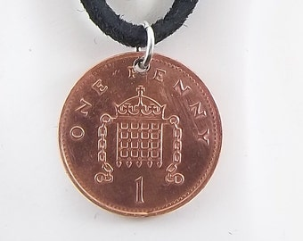England Coin Necklace, 1 Penny, Coin Pendant, Leather Cord, Mens Necklace, Womens Necklace, Birth Year, 1995