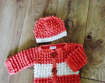 Baby Sweater Set - Coral and White Stripe