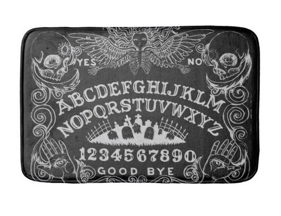 Ouija Board Black Angel of Death Bath Mat Rug