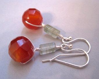 Carnelian Earrings, Moss Aagte Earrings, Sterling Silver Earrings, Gemstones, Modern Jewelry, Minimalist