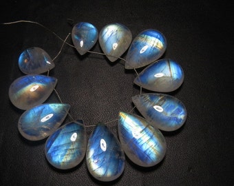Rainbow MOONSTONE - AAAAA - High Quality So Gorgeous Blue Fire Smooth Polished Pear Briolettes  Huge size 12x16 - 16x24 mm - 11 pcs