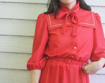 Sailor Collar Dress Striped Red Sheer Print 70s Retro Vintage 1970s S
