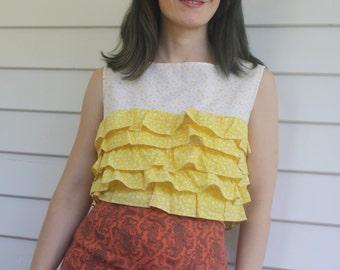 Ruffle Shirt Cropped Sleeveless Yellow Top 60s 1960s S XS