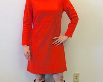 Mod Orange Dress Vintage 60s 1960s Retro Knit S