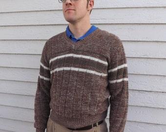 70s Brown Mens Sweater Vintage Alfie Striped Pullover 80s L M