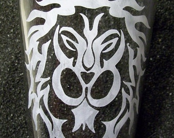 Tribal Alliance etched pint glass tumbler World of Warcraft