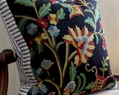 """ANTIQUE CREWEL and Black Pillow Cover Beautiful 20"""" X 20"""" Black White Ticking"""