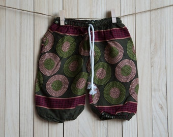 Kid's Olive Green Printed Cotton Pants /Gypsy Pants/Aladdin Pants/Genie Pants/Yoga Pants /Thai Pants Size-S