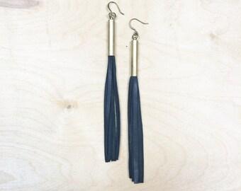 CIVAL Collective - Kate   Black Fringe Tassel Earring   Simple Modern Design   Statement l eather duster earrings   Handmade OOAK gift