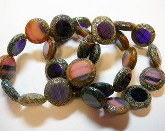 10 16mm Czech Glass Pink and Purple blend Travertine Table Cut Coin Beads