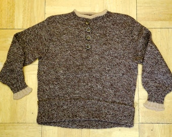 40s CHILDRENS boys brown hand knit sweater top 1940s vintage 1950s cute