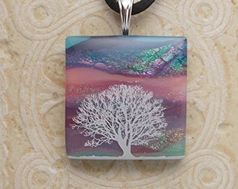 Lonely Tree Dichroic Glass Necklace DGP 056