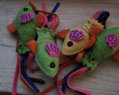 Vintage Felted Fish with stitching and beads set of 4