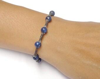 Handcrafted Blue Lapis Gemstone BEAD Fair Trade Macrame COTTON Thai Jewelry Wristband Bracelet