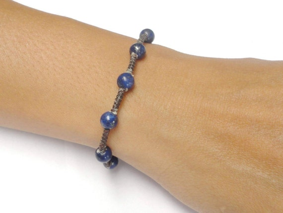 Handcrafted Blue Lapis Gemstone BEAD Fair Trade Macrame COTTON Thai Jewelry Wristband Bracelet