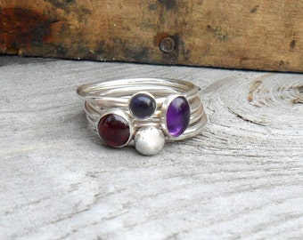 Winter Berry Stacking Ring Set