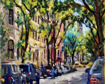 From 92nd and Fifth, Morning Light NYC. 8x10 Oil on Canvas, Impressionist Cityscape, New York City Painting, Signed Original Fine Art