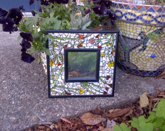 Stained glass mosaic garden picture frame with mirror
