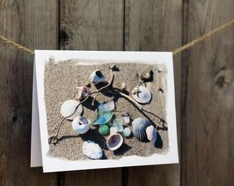 Beach Treasure Note Cards- summer beach theme cards, beachcomber, beach glass, sea shells, sea treasure cards, teacher gift, sea glass cards