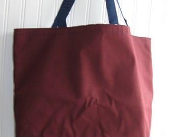 maroon twill washable fabric tote bag, shopping bag