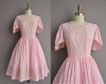 50s pink cotton gingham full skirt vintage dress / vintage 1950s dress