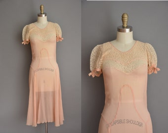 vintage 1920s dress / silk chiffon flapper dress / 20s lace dress