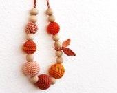 NEW!!! OOAK Autumn color leaves Teething Necklace for Baby Breastfeeding Necklace /Nurthing Necklace