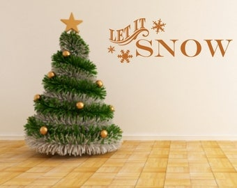 Let it Snow with Snowflakes Vinyl Wall Decals - Christmas Vinyl Decals - Winter- Holiday Decals - Let it Snow - Holiday Wall Decal