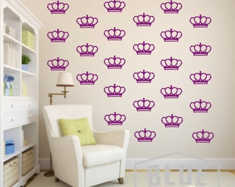 Princess Crowns Vinyl Wall Decals - Crowns Decal - Nursery Vinyl Wall Decal - Wall Sticker - Child's Room Wall Decal - Crowns Wallpaper