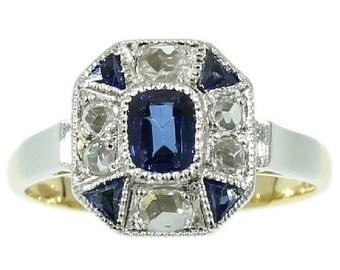 Summer Sale Vintage Sapphire Ring yellow gold blue sapphire rose cut diamonds Art Deco ring circa 1920