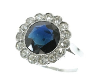 Platinum Art Deco diamond sapphire engagement ring