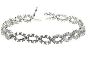 ON SALE Diamond wedding bracelet 18k white gold 5.00ct brilliant cut diamonds